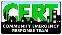 Community Emergency Response Team Logo with skyline and text - CERT