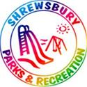 Circular logo with slide, swing set and sun with text Shrewsbury Parks and Recreation
