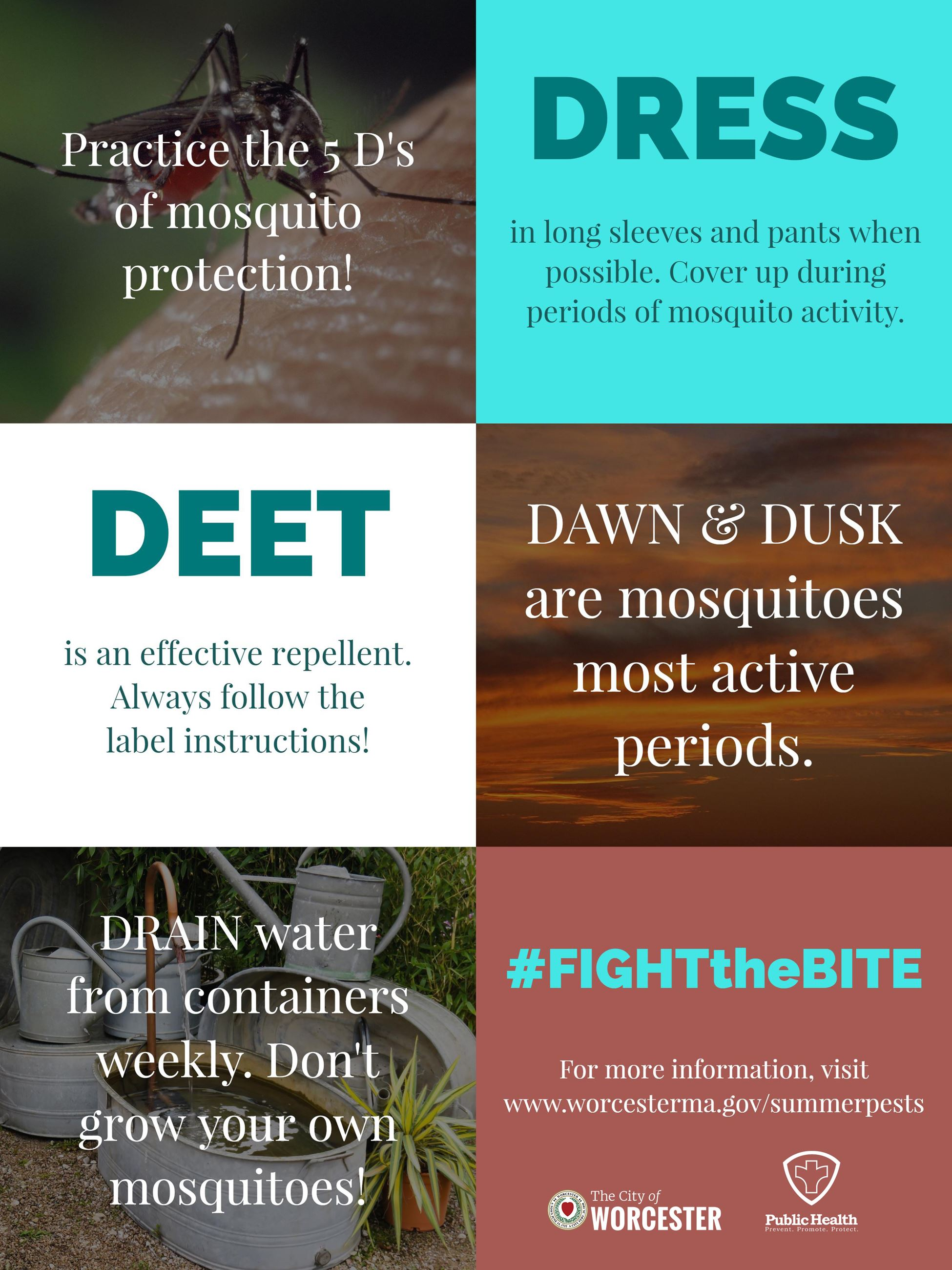 Image of 5 practices to protect yourself from mosquitoes. Deet, Dawn/Dusk, Drain, Dress.