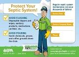Cartoon man encouraging people to take care of their septic system. Title V information.