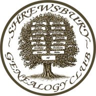 Shrewsbury Genealogy Club logo with tree and family names inside circle