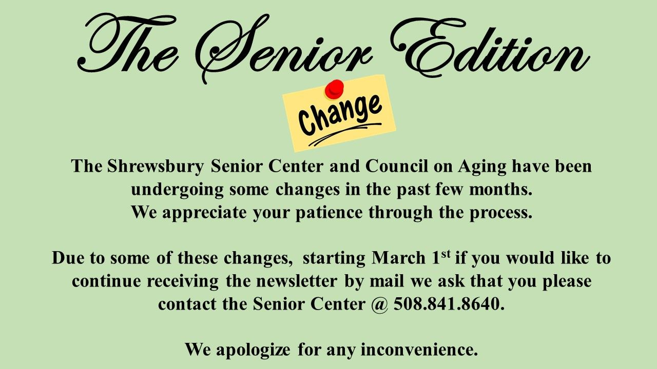 Senior center newsletter change