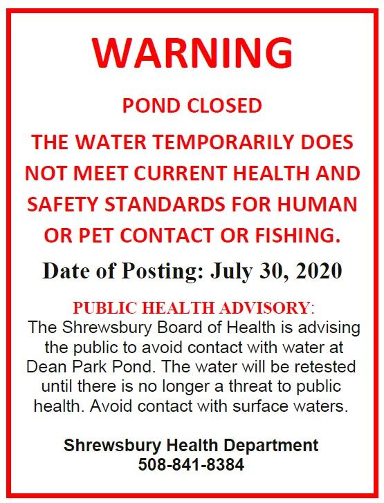 Dean Park Pond Closure Signage due to E. Coli 07-30-20