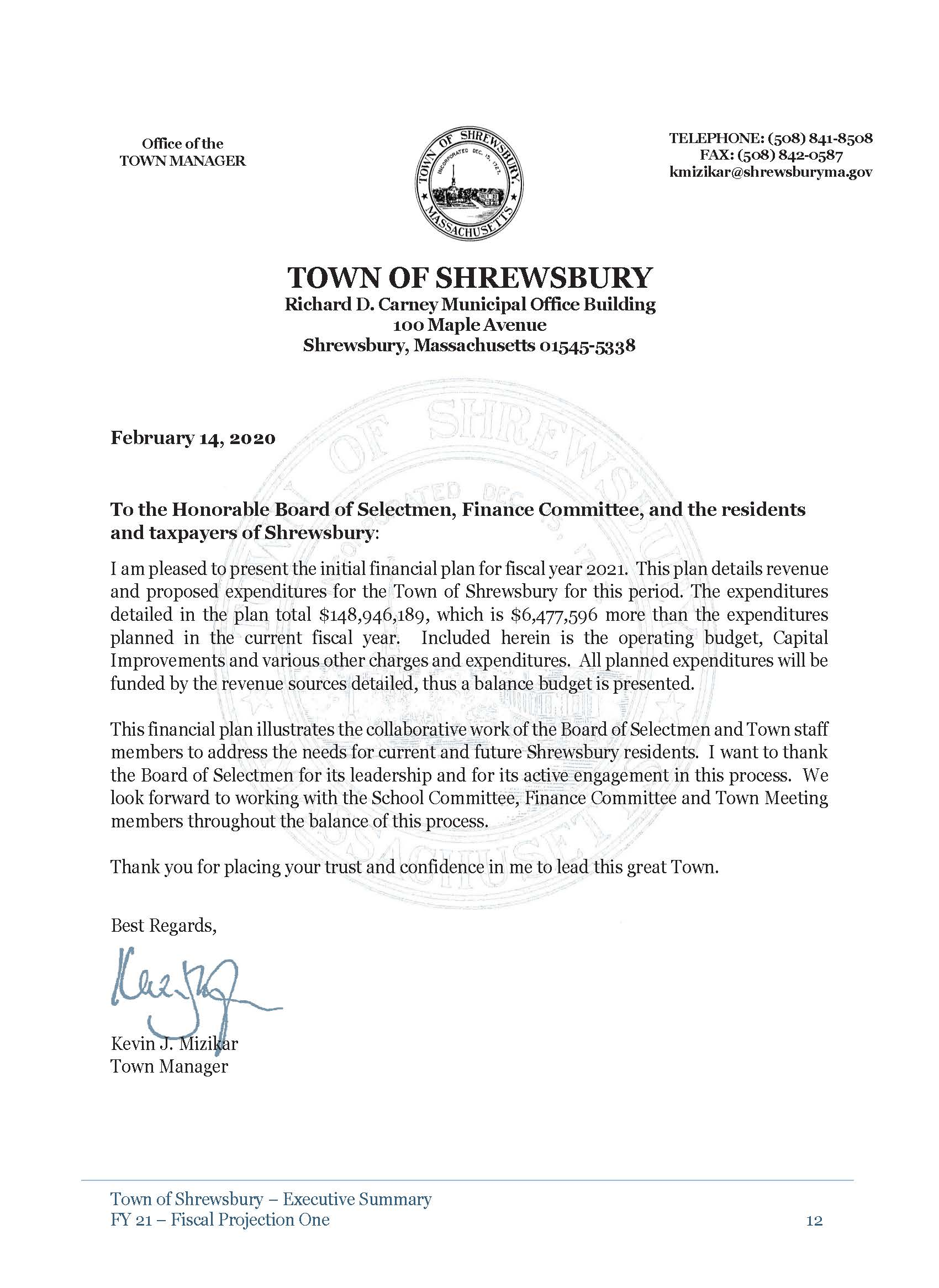 FY 21 Financial Plan - Fiscal Projection 1 - Letter from Town Manager